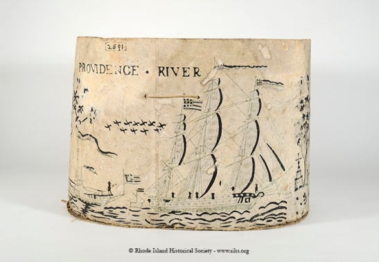 "Bandbox with ""Providence River"" block printed paper, early 19th century. RIHS Museum Collection"