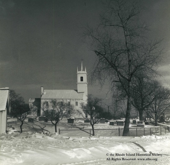 Estey, Charlotte (photographer). [View of the Newman Congregational Church in the snow]. East Providence, Rhode Island. 1945-1955. Photograph: Silver gelatin. Mary Elizabeth Robinson Research Center, G Lot 144, Charlotte Estey Collection.